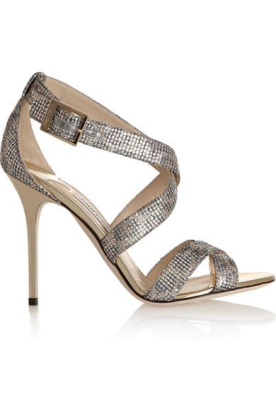 Lottie 亮片金葱纹理金属丝面料凉鞋