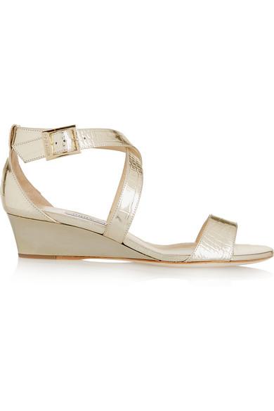 Chiara 仿鳄鱼纹金属色皮革坡跟凉鞋