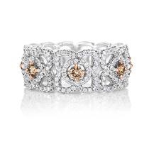 戴比尔斯钻石珠宝 彩钻 莲花戒环