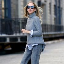 冬季温暖显瘦穿搭 宽松毛衣紧身裤