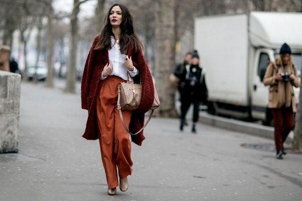 大衣+阔腿裤 组成无数时髦可能性