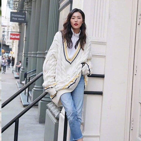 粗棒针织毛衣 温暖时髦两不误