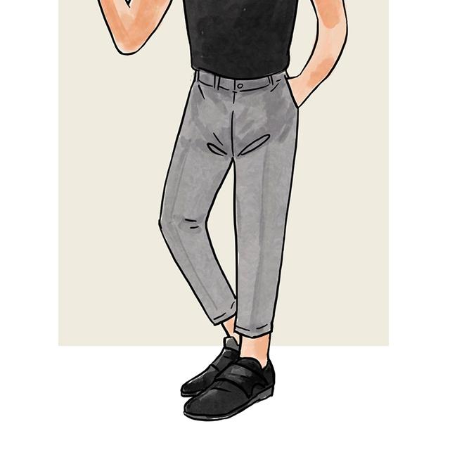 每日穿搭|立挺的灰长裤